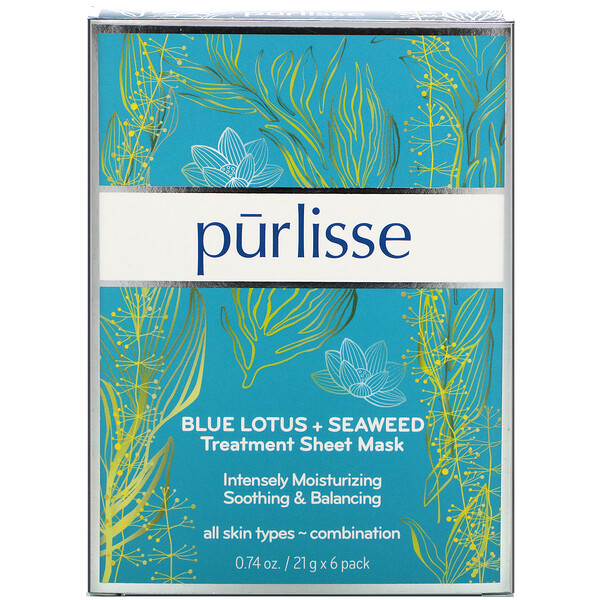 Purlisse, Blue Lotus + Seaweed, Treatment Sheet Mask, 6 Masks, 0.74 oz (21 g) Each